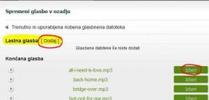 izbor ali dodajanje svoje glasbe na Web5.si